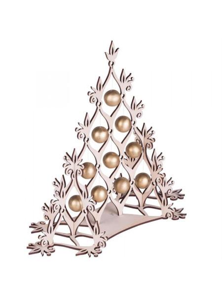Сборная елка «Новогодний ажур», с золотистыми шариками