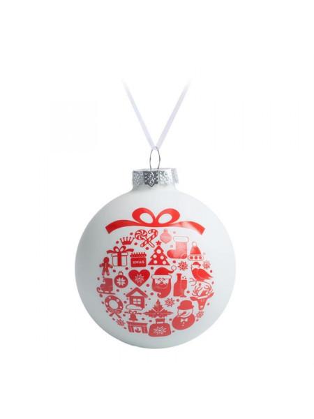 Елочный шар «Новогодний коллаж», 8 см, белый с красным