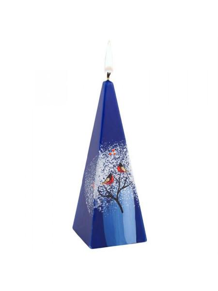Свеча ручной работы «Снегири на ветке», в форме пирамиды