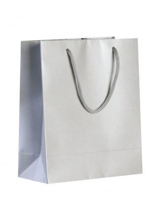 Пакет бумажный «Блеск», малый, серебристый