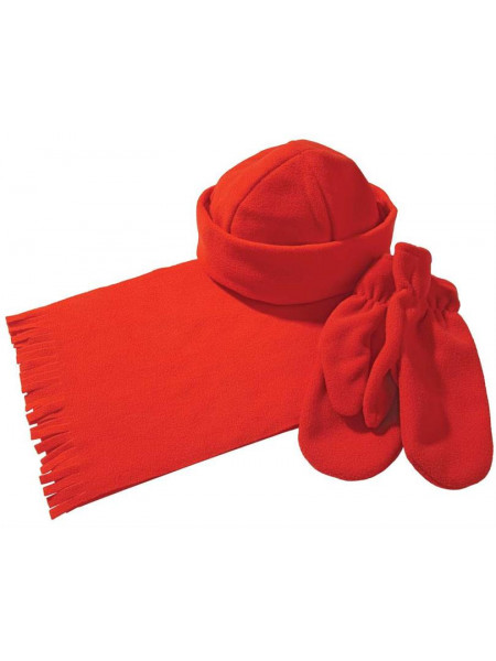 Комплект Unit Fleecy: шарф, шапка, варежки, красный
