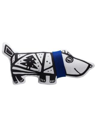 Игрушка «Собака в шарфе», большая, белая с синим