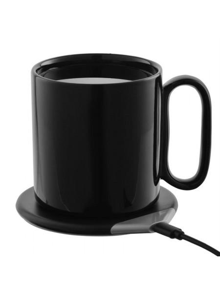 Кружка с подогревом и беспроводной зарядкой DualBase, черная
