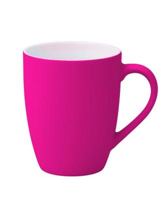 Кружка Good Morning c покрытием софт-тач, ярко-розовая (фуксия)