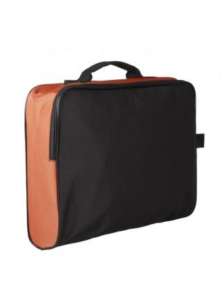 Сумка для документов Unit College, черная с оранжевым