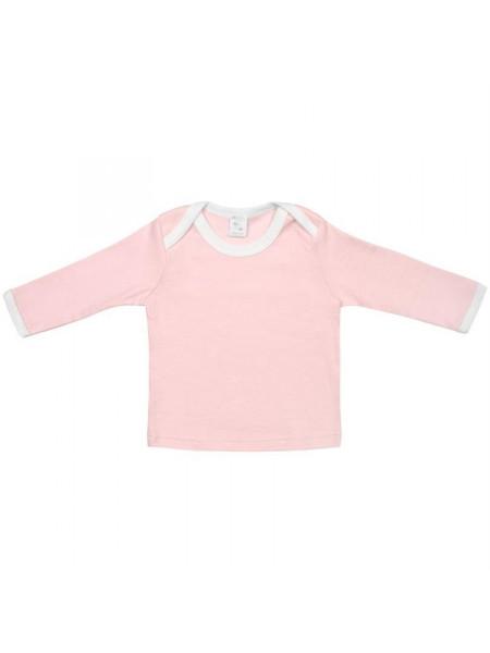Футболка детская с длинным рукавом Baby Prime, розовая с молочно-белым