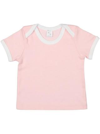 Футболка детская с коротким рукавом Baby Prime, розовая с молочно-белым