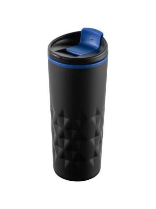 Термостакан Relief, черный с синим
