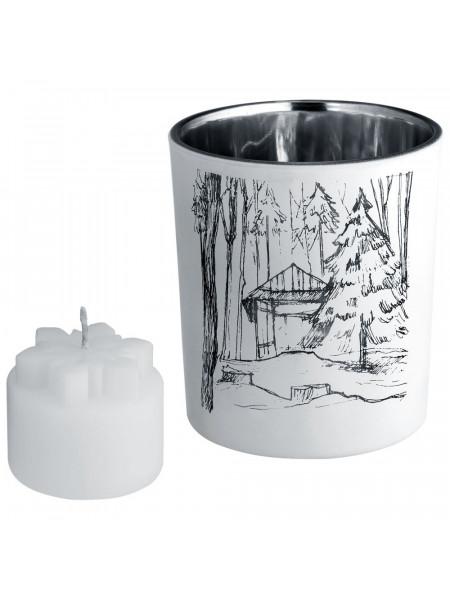 Подсвечник со свечой Forest, с изображением избушки