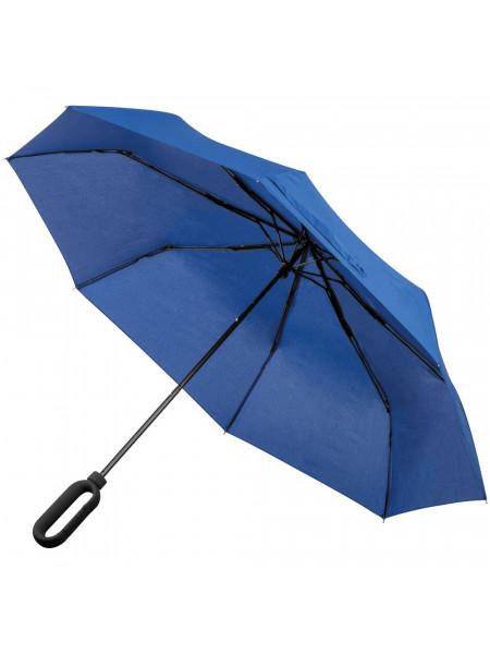 Зонт складной Hoopy с ручкой-карабином, синий