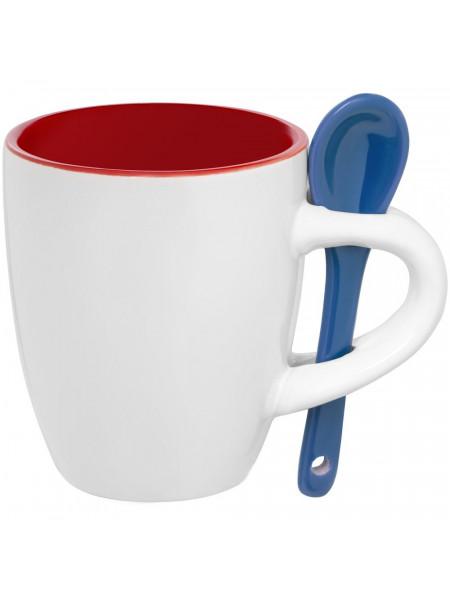 Кофейная кружка Pairy с ложкой, красная с синей