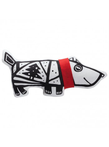 Игрушка «Собака в шарфе», большая, белая с красным