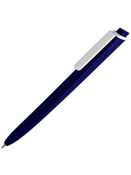 Ручка шариковая Pigra P02 Mat, темно-синяя с белым