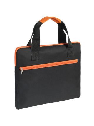 Конференц-сумка Unit Сontour, черная с оранжевой отделкой