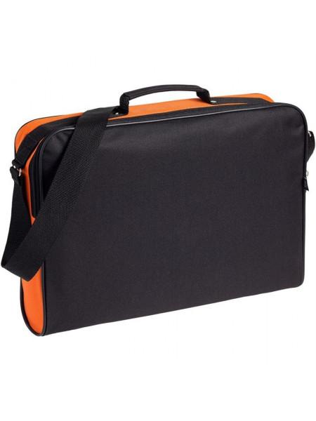 Сумка для документов Unit Metier, черная с оранжевой отделкой