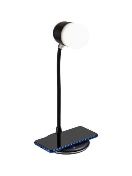Лампа с колонкой и беспроводной зарядкой lampaTon, черная